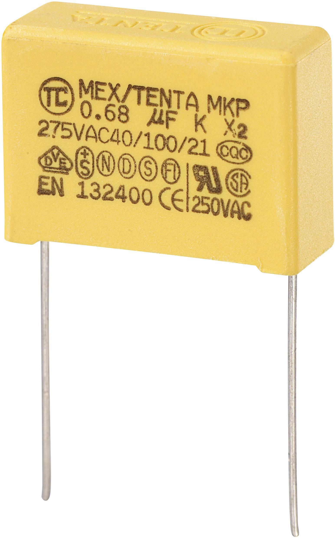 Odrušovací kondenzátor MKP-X2 MKP-X2 radiálne vývody, 0.68 µF, 275 V/AC,10 %, 22.5 mm, (d x š x v) 26.5 x 10 x 19 mm, 1 ks