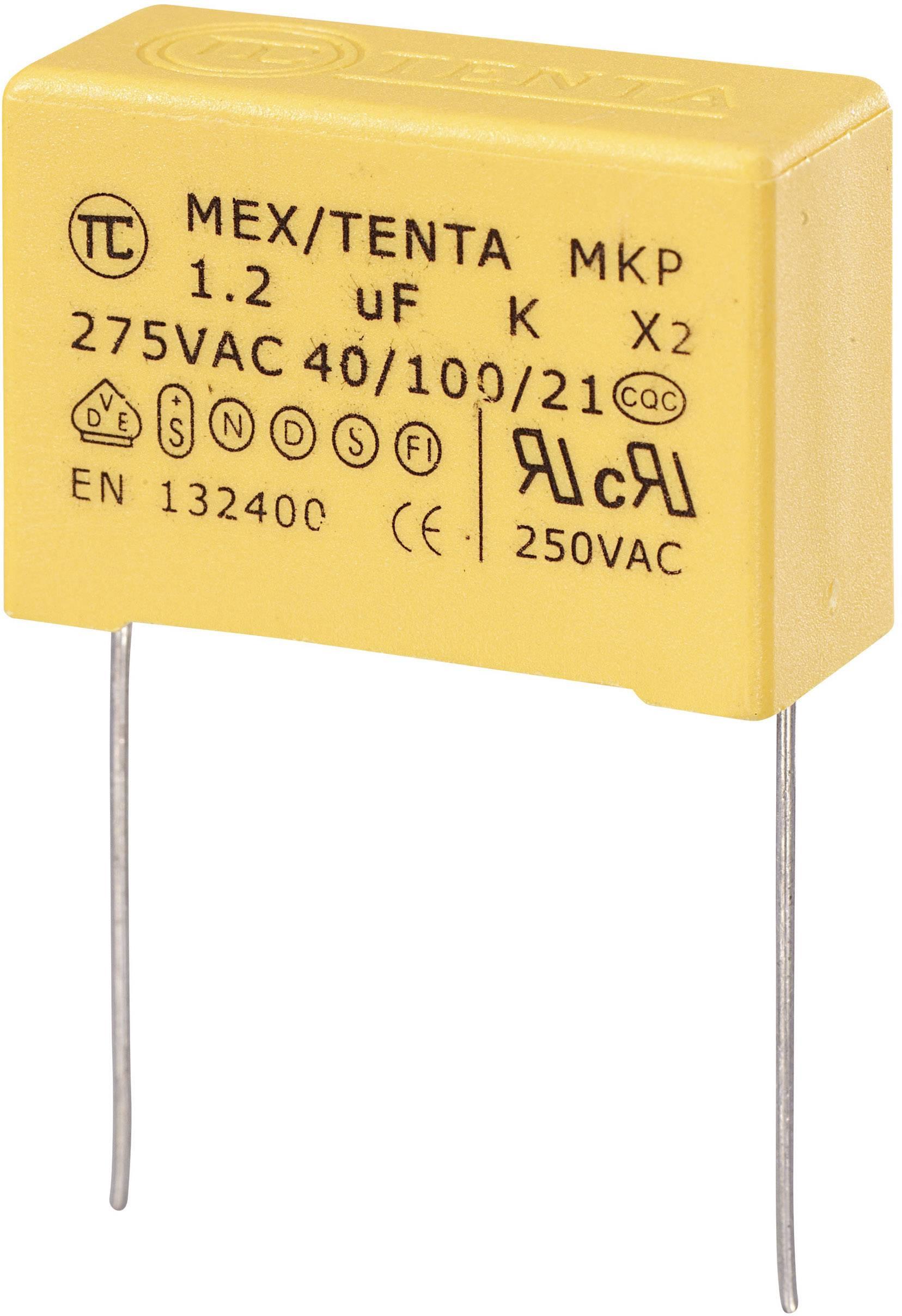 Foliový kondenzátor MKP, 1,2 µF, X2 275 V/AC, 10 %, 32 x 13 x 23 mm