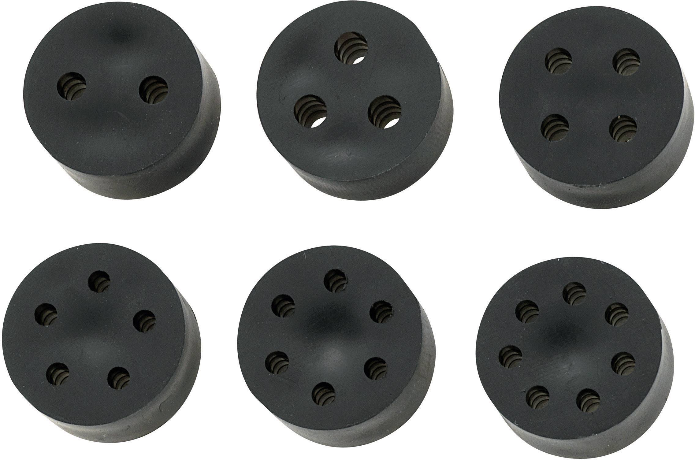 Těsnící vložka s více průchody TRU COMPONENTS TC-MH23-4F203, M25, guma, černá, 1 ks