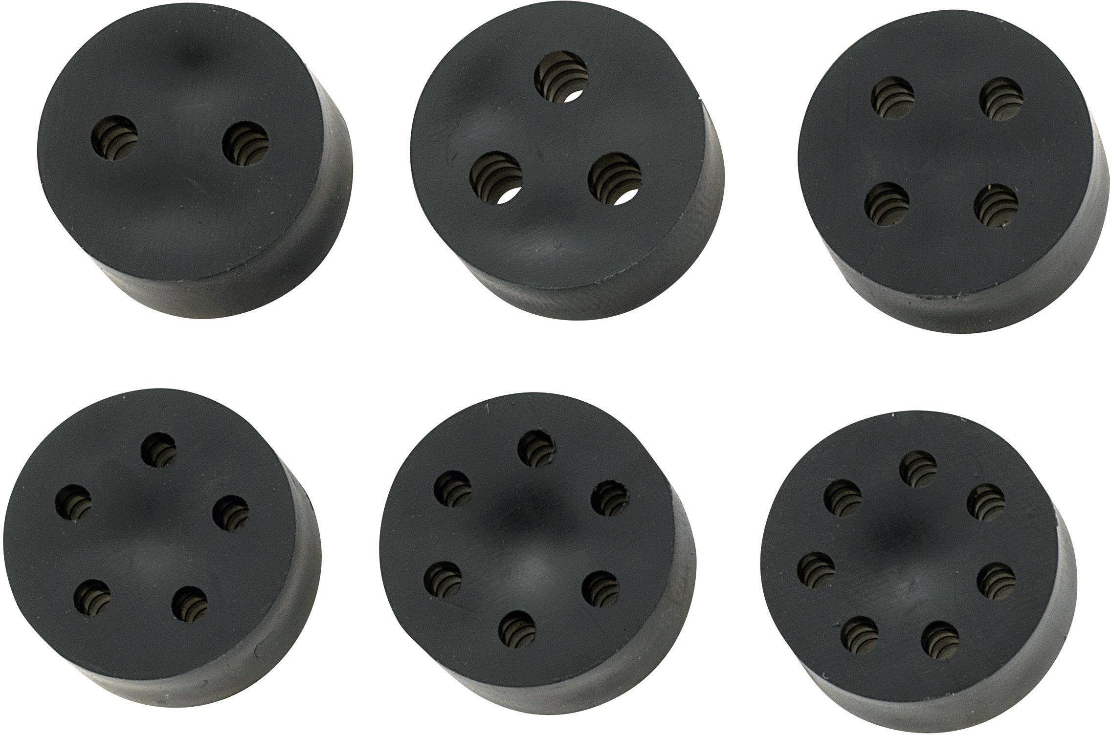 Těsnící vložka s více průchody TRU COMPONENTS TC-MH30-3A203, PG29, guma, černá, 1 ks