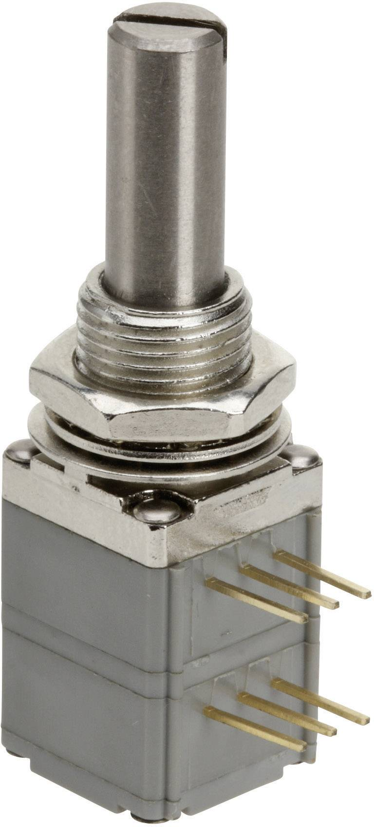 Vodivý plastový potenciometer prachotesný, so spínačom mono TT Electronics AB P260S-D1BS4A B-50 KR 4113904960, 50 kOhm, 1 ks