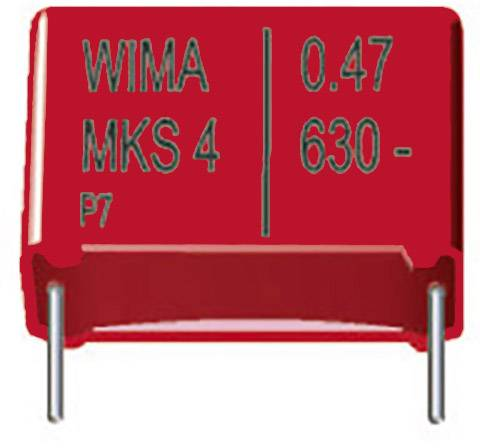 Fóliový kondenzátor MKS Wima MKS4, 15 mm, 0,1 µF, 630 V, 20 %, 18 x 6 x 12,5 mm