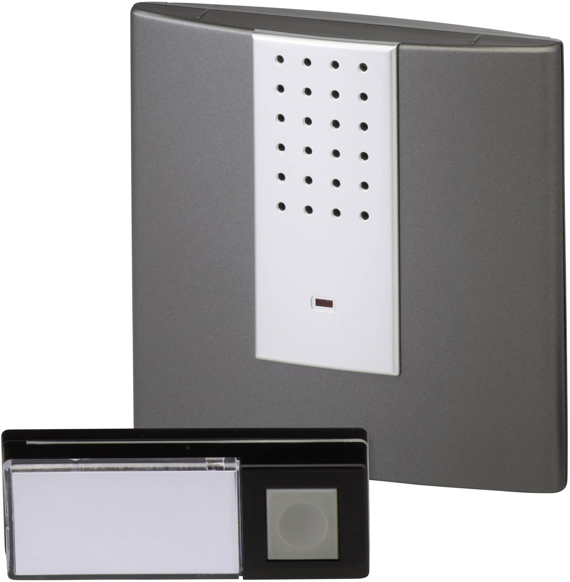 Bezdrôtový zvonček Heidemann HX Square 70823, kompletná sada, max. dosah 200 m, antracitová, strieborná