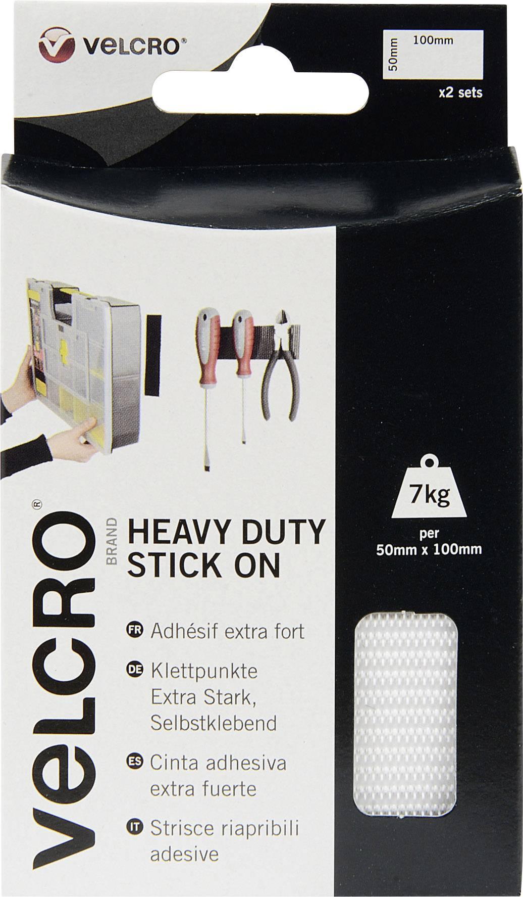 Lepiaci pásik so suchým zipsom VELCRO® brand VEL-EC60240, (d x š) 100 mm x 50 mm, biela, 2 pár