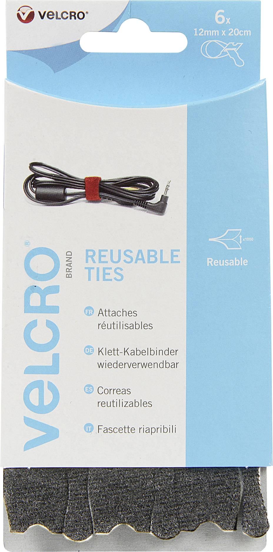 Káblový manažér na suchý zips VELCRO® brand VEL-EC60388, (d x š) 200 mm x 12 mm, čierna, 6 ks