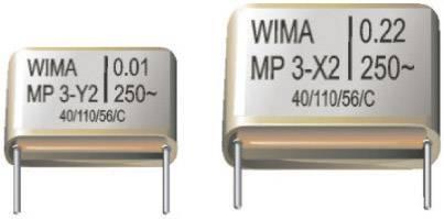 Odrušovací kondenzátor X2 Wima, 0,22 µF, 20 %, 28 x 10 x 22 mm