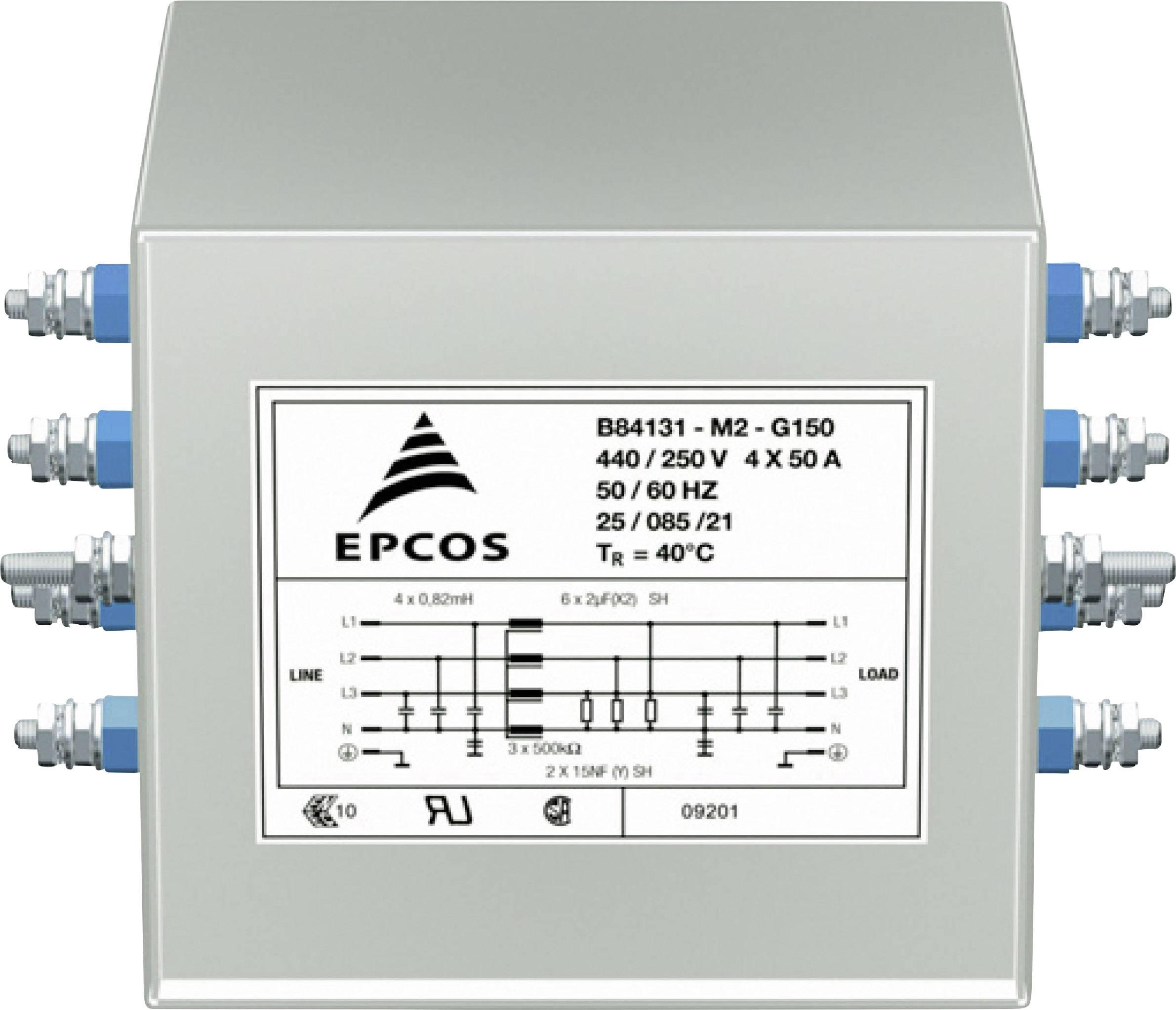 Síťový filtr Epcos, B84131M0001G135, 250 V, 4 x 35 A