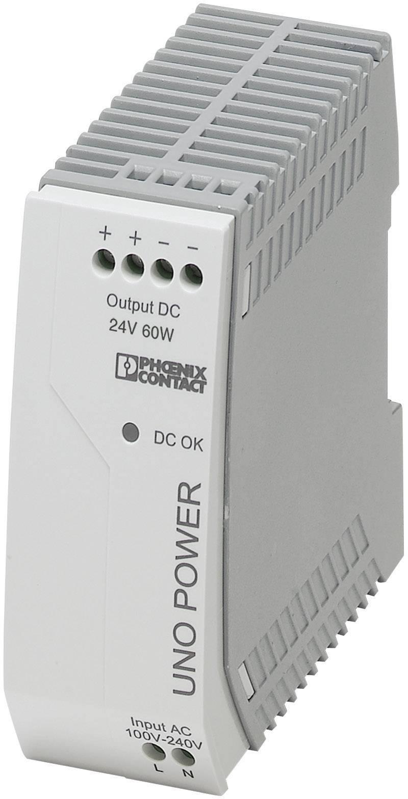 Zdroj na DIN lištu Phoenix Contact UNO-PS/1AC/24DC/60W, 2,5 A, 24 V/DC