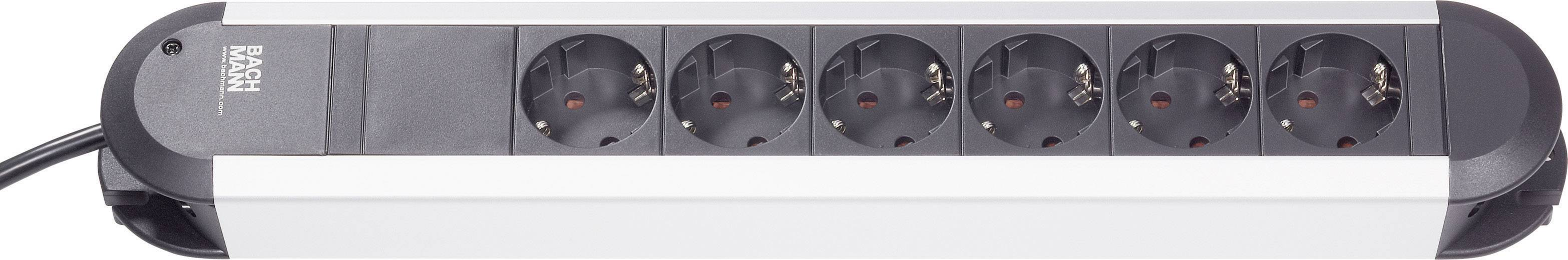 Zásuvková lišta bez spínača Bachmann Electric Primo, 331010, 6 zásuviek, hliník/čierna