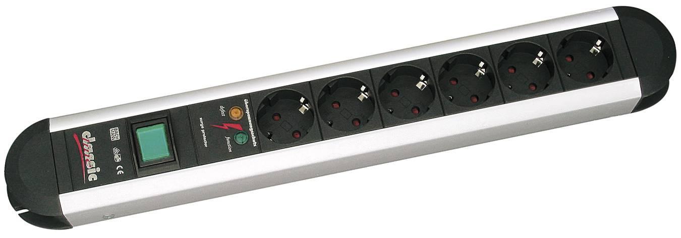 Zásuvková lišta s prepäťovou ochranou Bachmann Electric Primo, 331013, 6 zásuviek, hliník/čierna