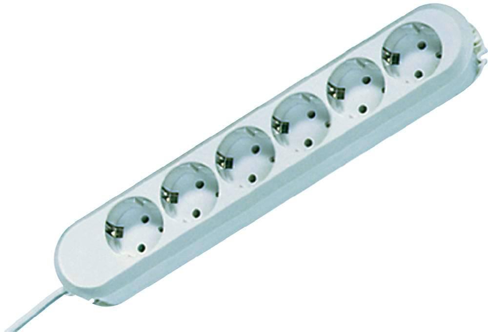 Zásuvková lišta bez spínača Bachmann Electric Smart, 6 zásuviek, 5 m, biela