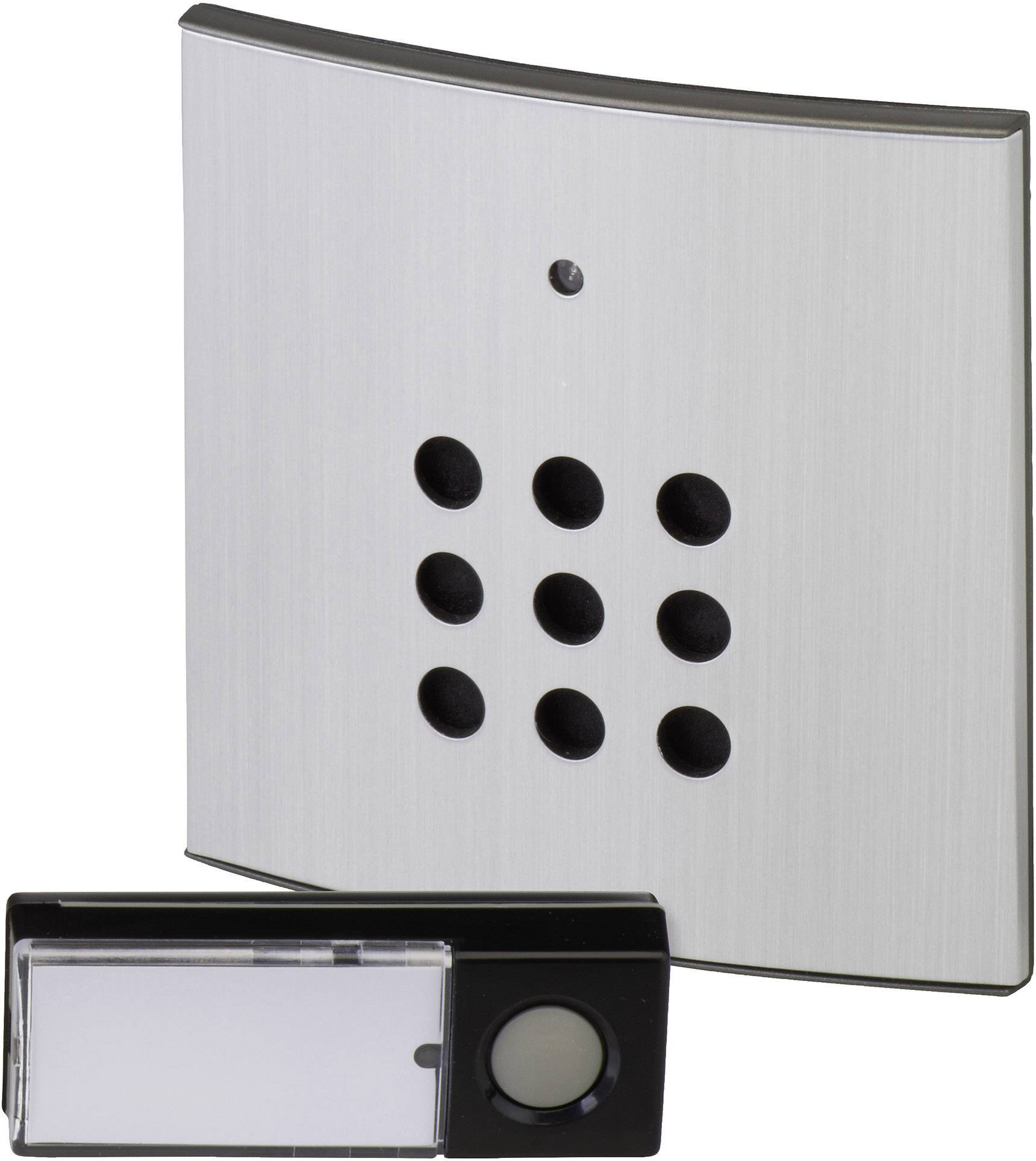 Bezdrôtový zvonček Heidemann HX Style 70821, kompletná sada, max. dosah 150 m, strieborná, čierna