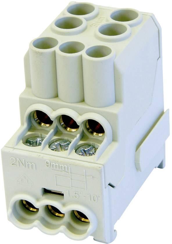 Rozdeľovací blok na DIN lištu Leipold Group 100 A, 1-pólový, 3 ks, sivý, 080010-0-4