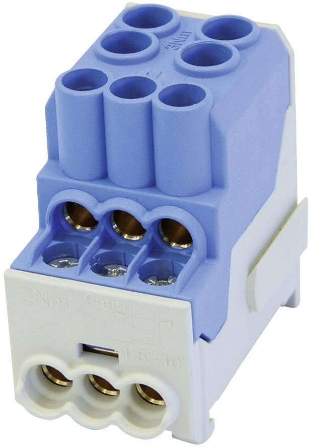 Rozdeľovací blok na DIN lištu Leipold Group 100 A, 1-pólový, 3 ks, modrý, 080010-1-4