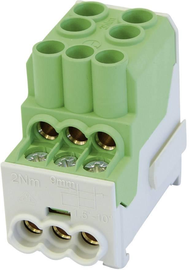 Rozdeľovací blok na DIN lištu Leipold Group 100 A, 1-pólový, 3 ks, zelený, 080010-2-4