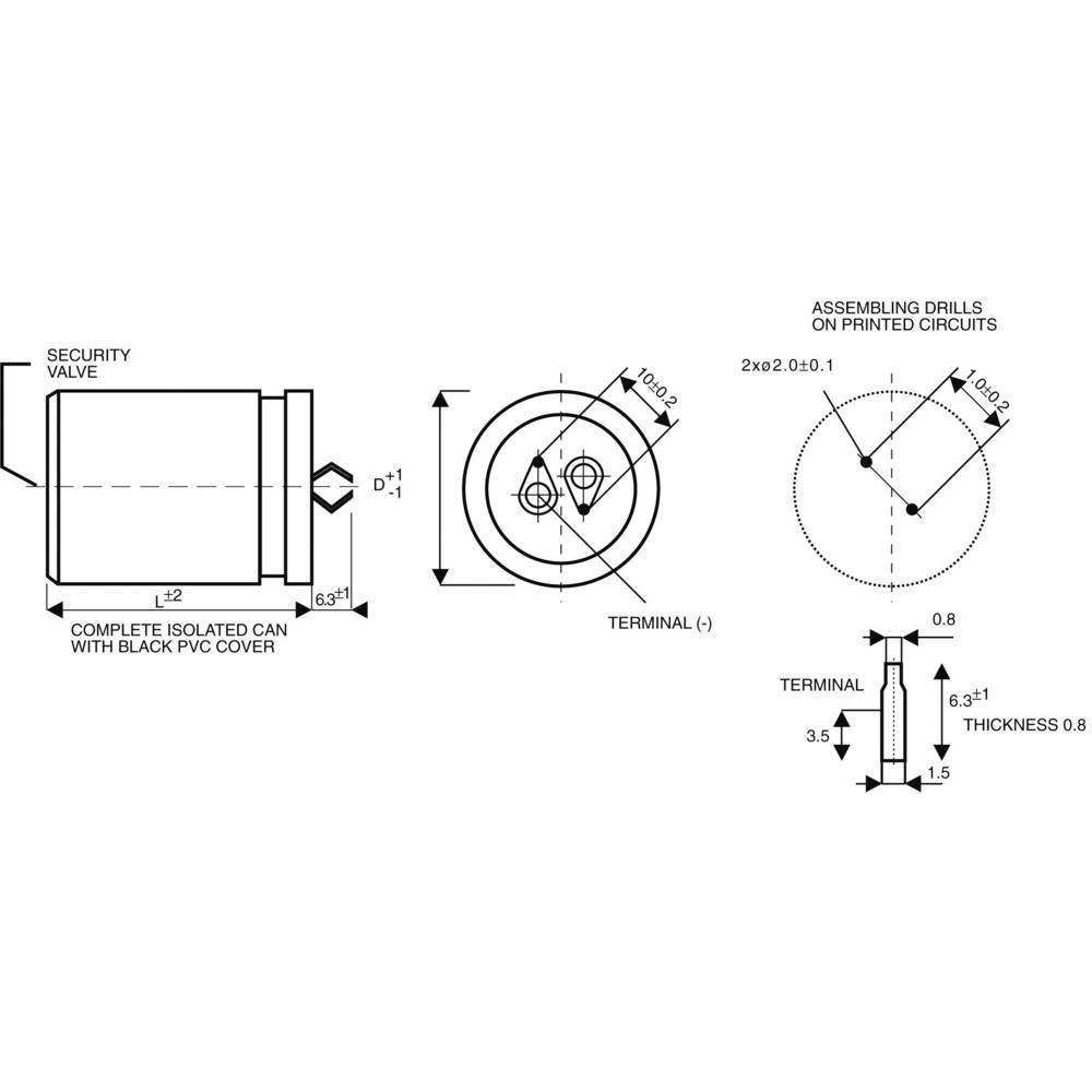 Snap In kondenzátor elektrolytický, 100 µF, 400 V, 20 %
