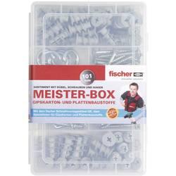 513892 S Meister-Box Gk hmoždinek, šroubů, úhlů a kulatý hák Množství 101 díly 06 Rozsah dodávky Zamontovat závitovou vložku · 50x GK hmoždinky · 38x šroub 4,2 x 35 mm · 6x úhlový háček 4,2 x 40 mm · 6x kulatý hák 4,0 x 46 mm.