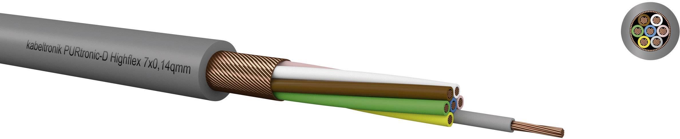 Riadiaci kábel Kabeltronik PURtronic Highflex 213101400, 10 x 0.14 mm², vonkajší Ø 3.20 mm, 500 V, metrový tovar, sivá