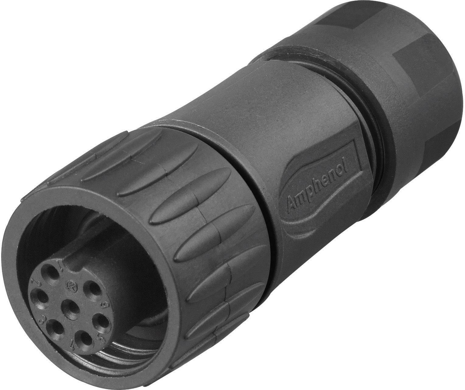 Kabelová zásuvka úhlová 6+PE Amphenol C016 10D006 010 12, černá