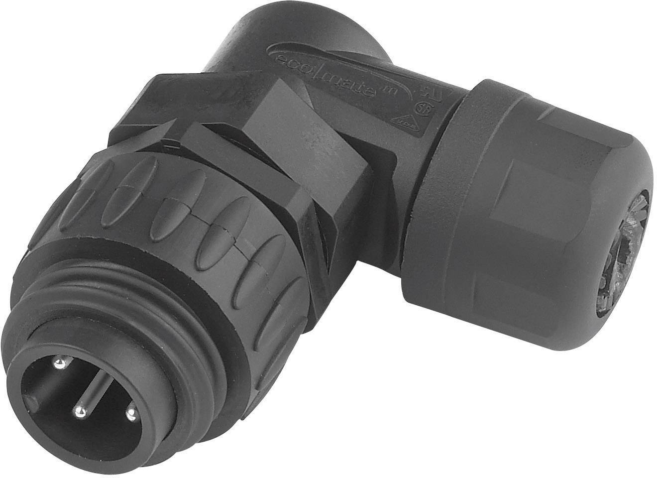 Kabelový konektor 6+PE Amphenol C016 10K006 000 12, černá, úhlový