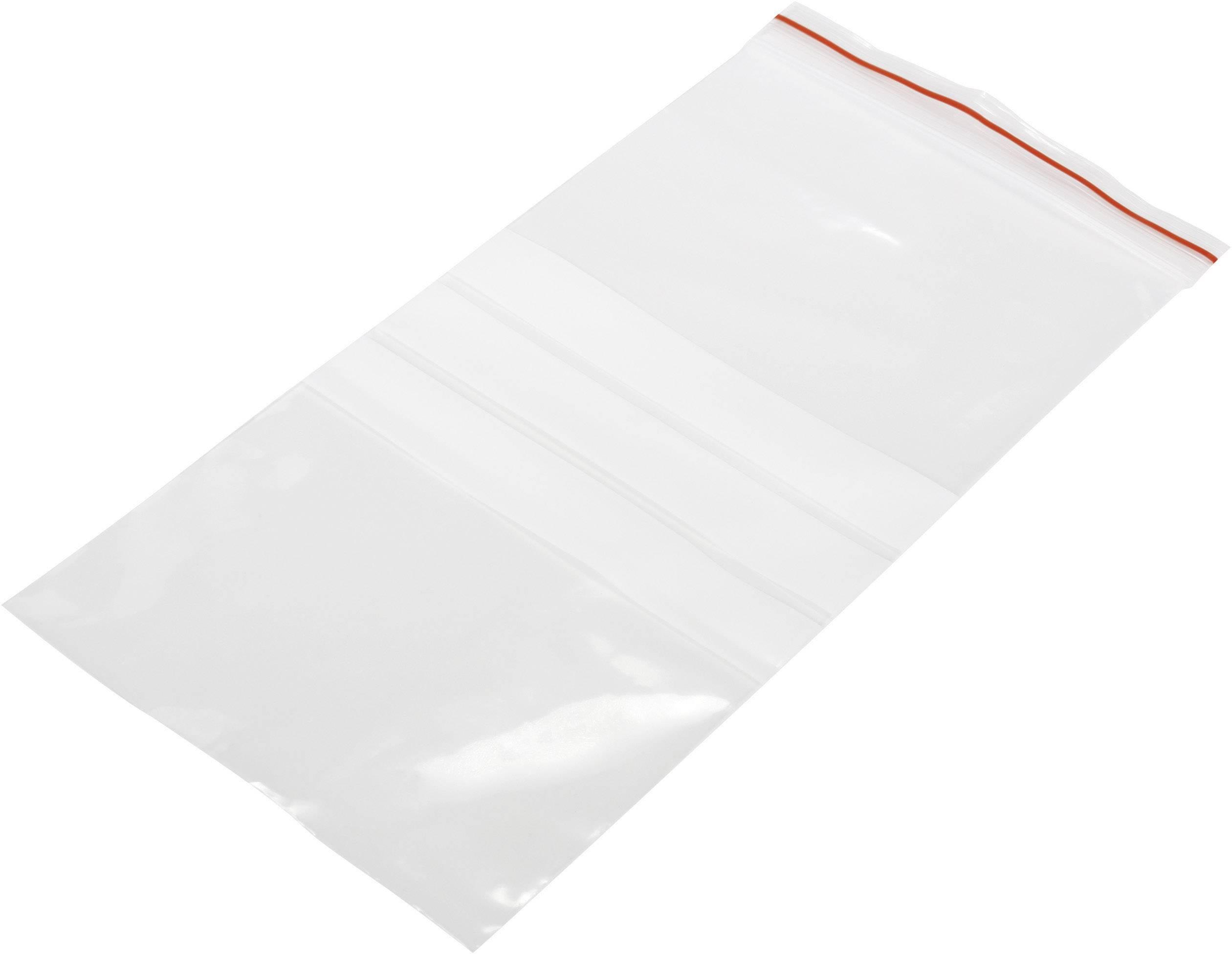 Uzatvárateľné vrecúško s popisnými štítkami (š x v) 100 mm x 200 mm, polyetylén, priehľadná