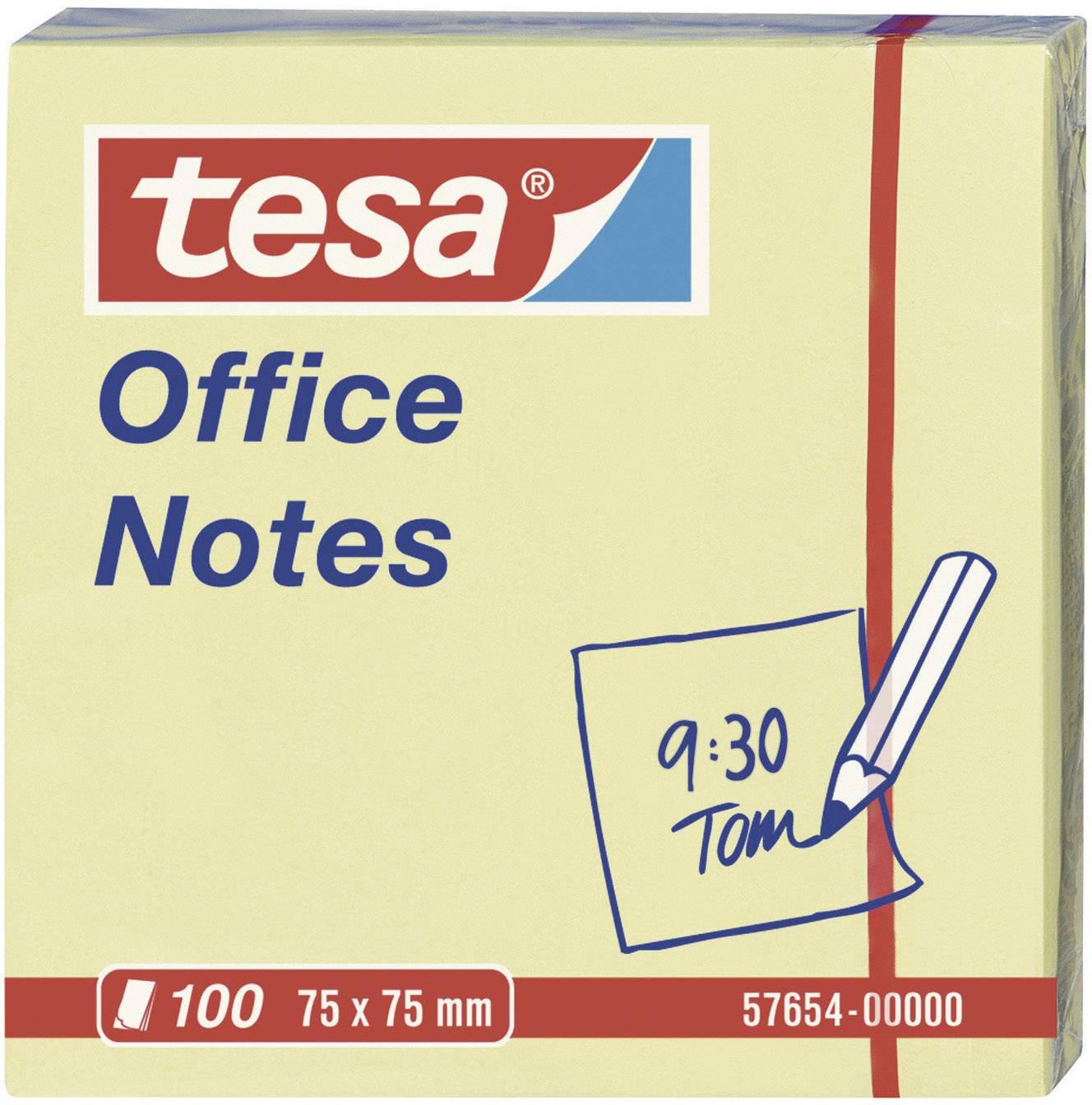 Samolepicí poznámkové bločky tesa 57654-00000, (š x v) 75 mm x 75 mm, žlutá, 100 listů