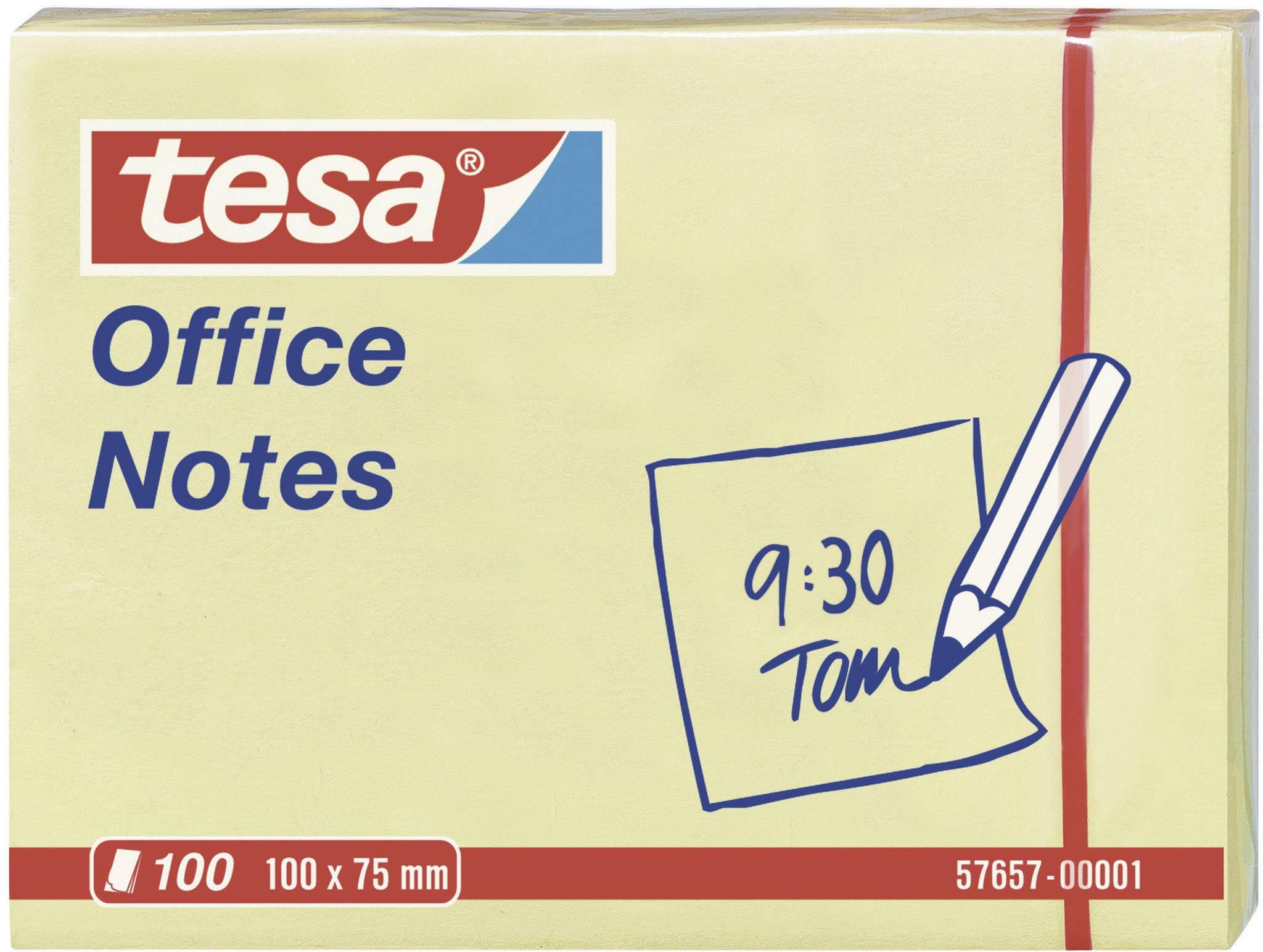 Samolepicí poznámkové bločky tesa 57657-00001, (š x v) 100 mm x 75 mm, žlutá, 100 listů