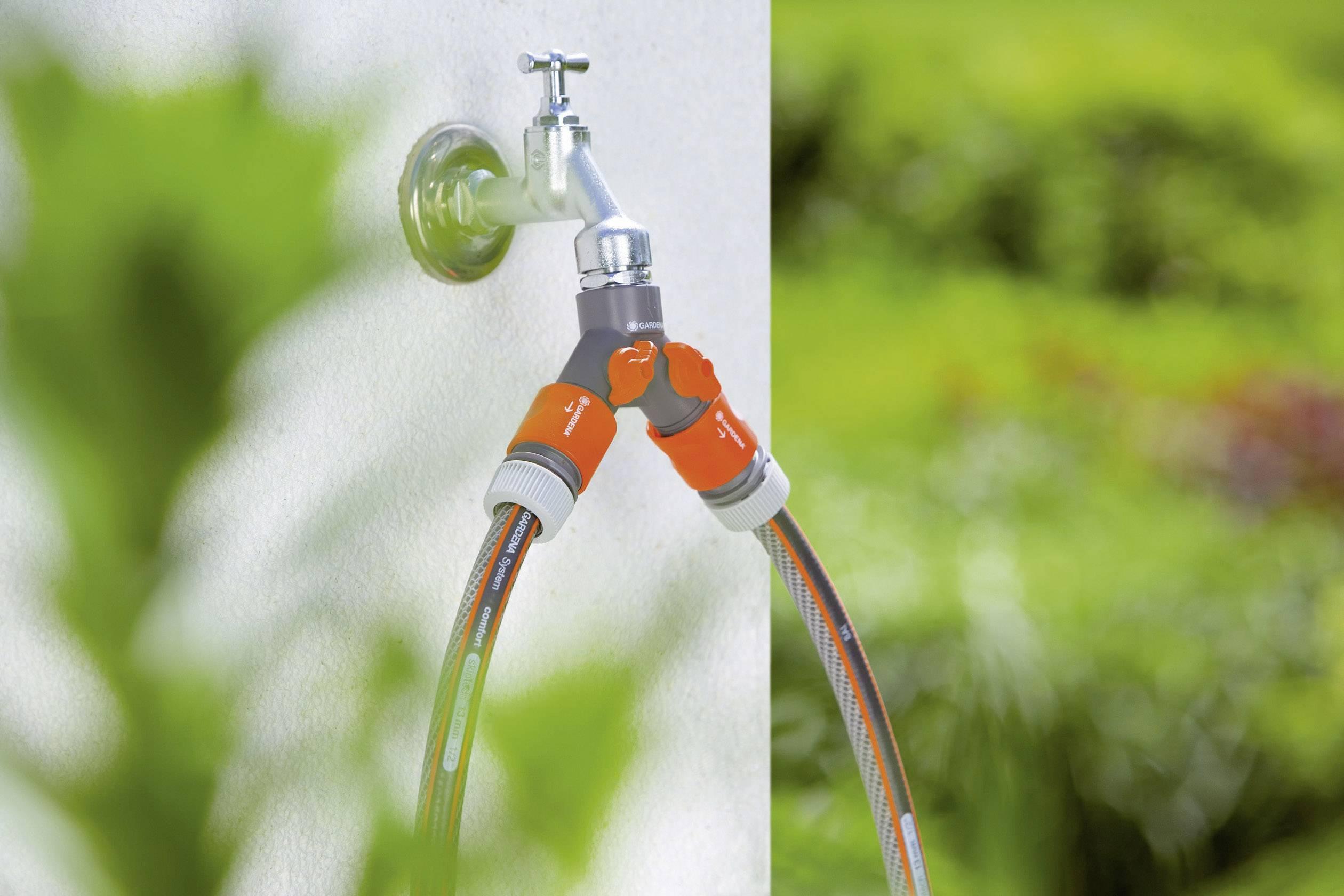 "2cestný hadicový ventil Gardena pro kohouty s 26,5mm závitem (G 3/4 "")"