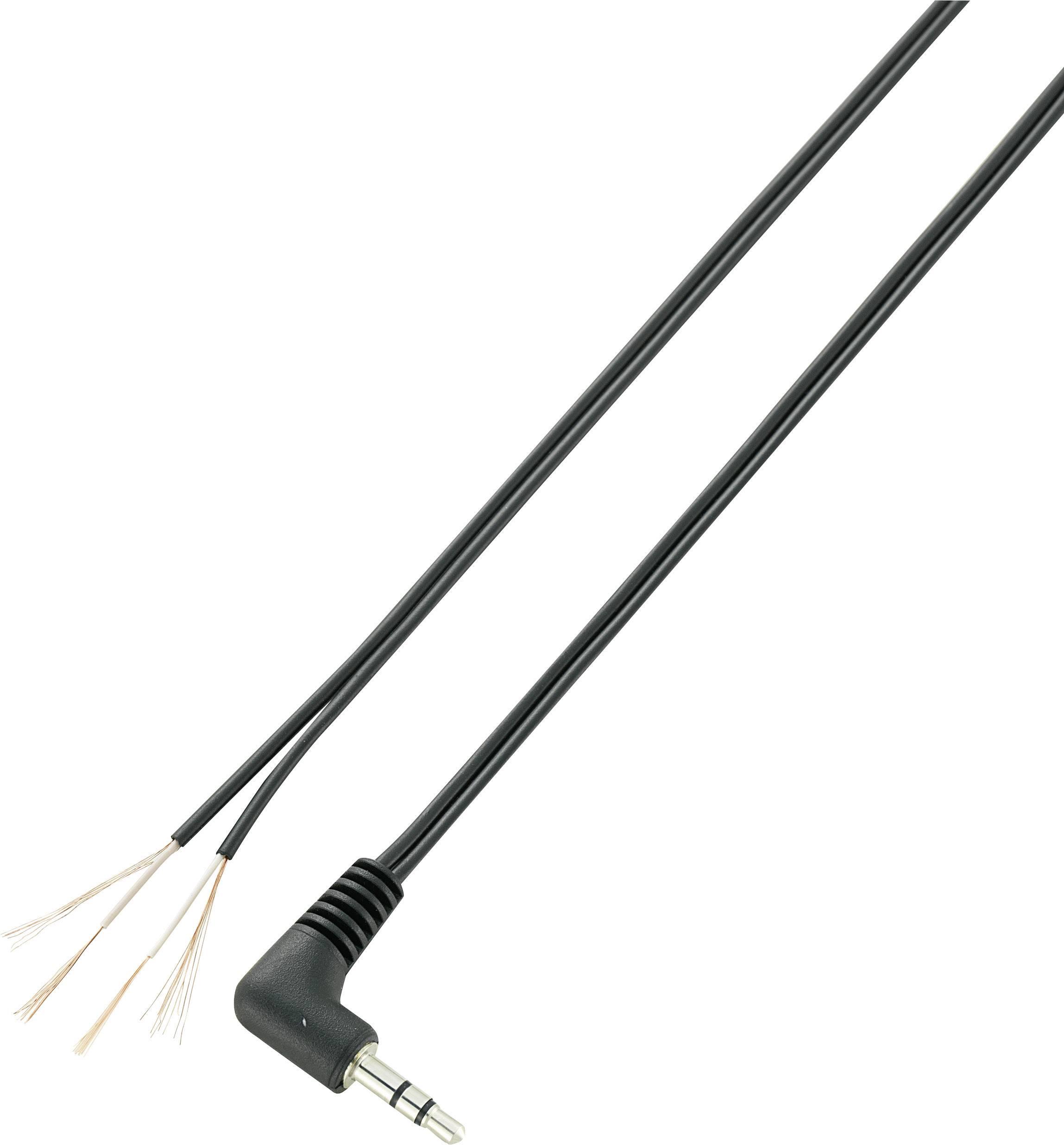 Jack kabel 3,5mm s ot. koncem stereo Voltcraft XL-AC35DW, zástrčka úhlová, černá
