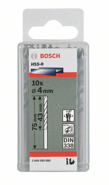 Kovový špirálový vrták Bosch Accessories 2608596559, 2.3 mm, 53 mm, DIN 338, HSS, 10 ks