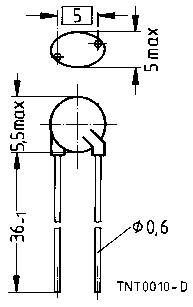 Termistor Epcos B57164K103J, RN ±5/10 %, K164/10 K/5%