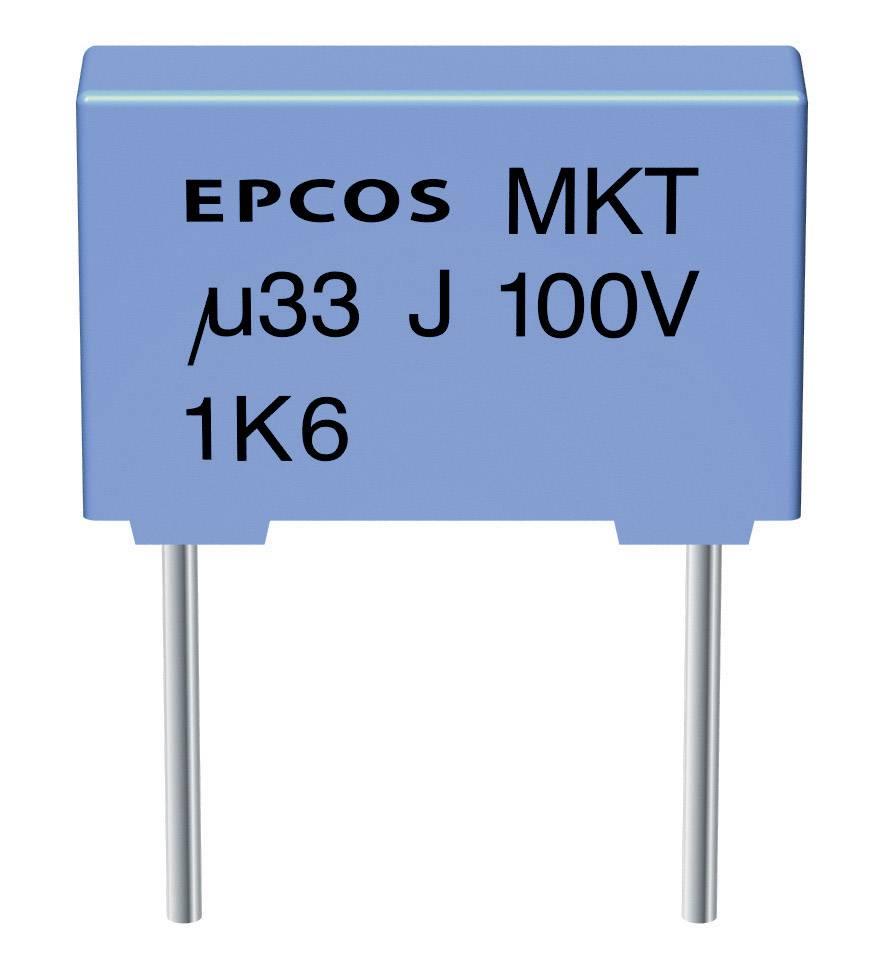 Fóliový kondenzátor MKT Epcos B32520-C225-K radiálne vývody, 2.2 µF, 63 V/DC,10 %, 7.5 mm, (d x š x v) 10 x 6 x 12 mm, 1 ks