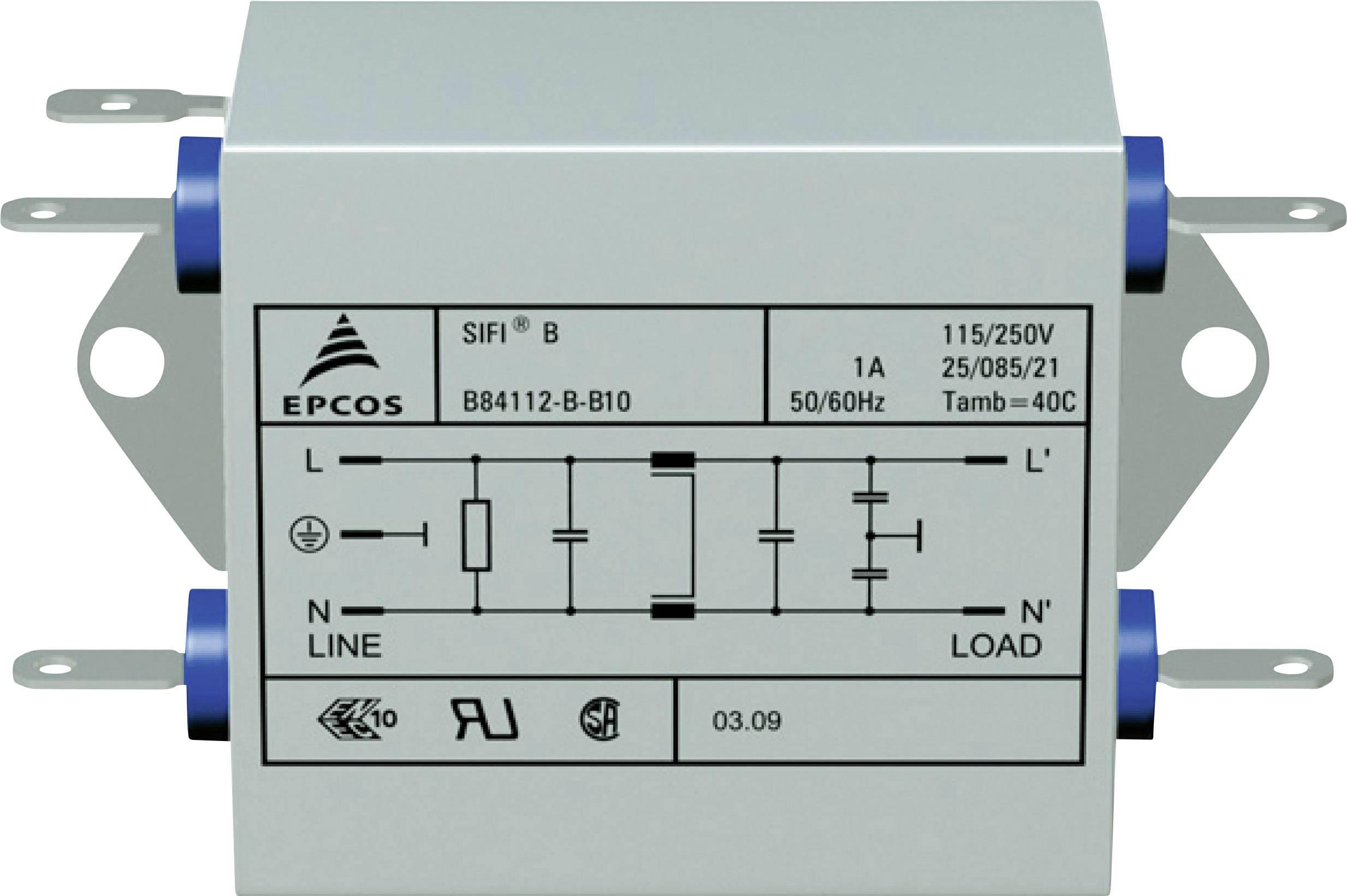 Odrušovací filter Epcos B84112BB120 B84112BB120, samohasiace, 250 V/AC, 20 A, 1.8 mH, (d x š x v) 84 x 125 x 38.1 mm, 1 ks