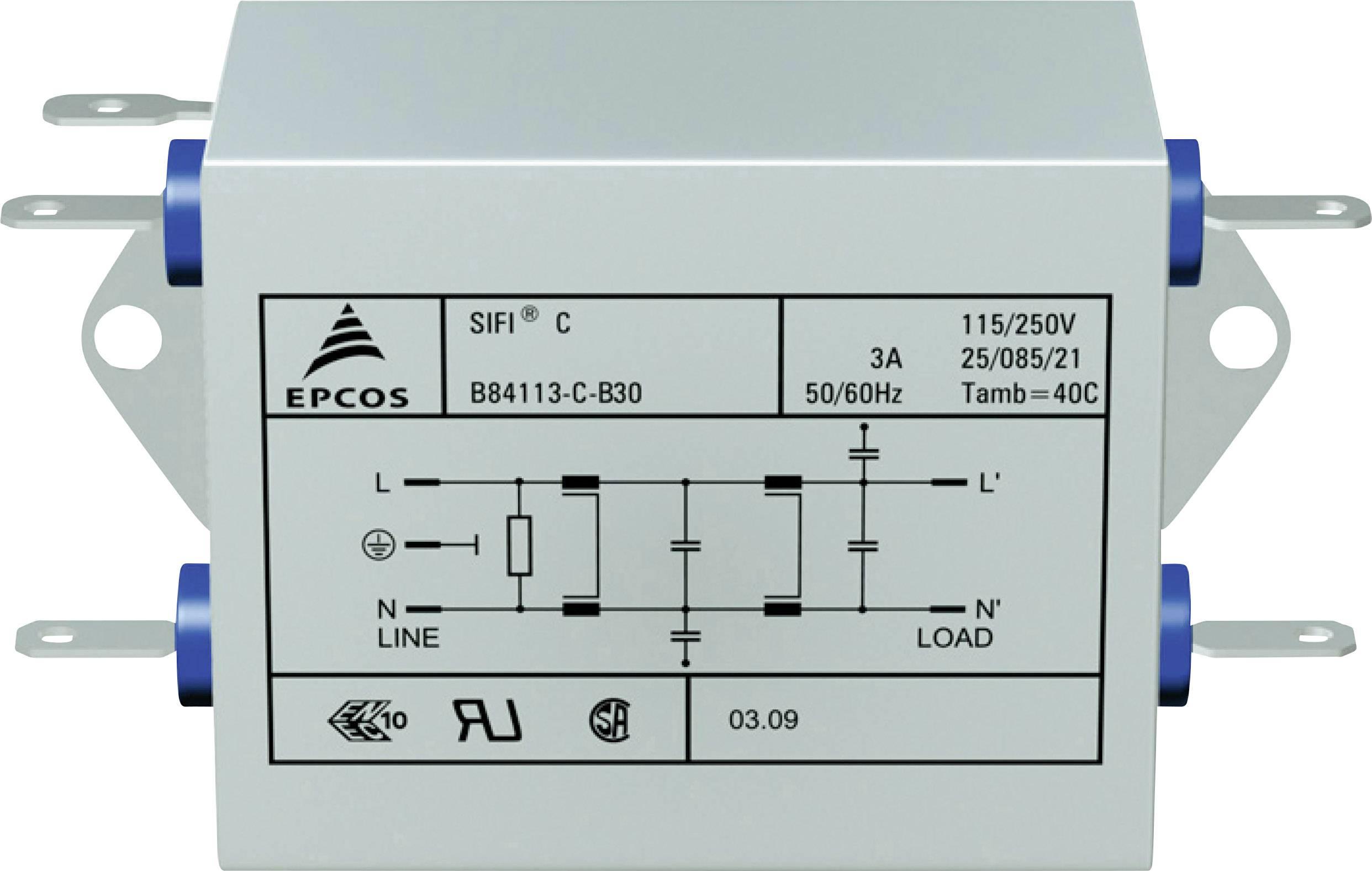 Odrušovací filtr Epcos STANDARDFILTER, B84113CB110, 115/250 V, 50 až 60 Hz, 250 V/AC, 10 A