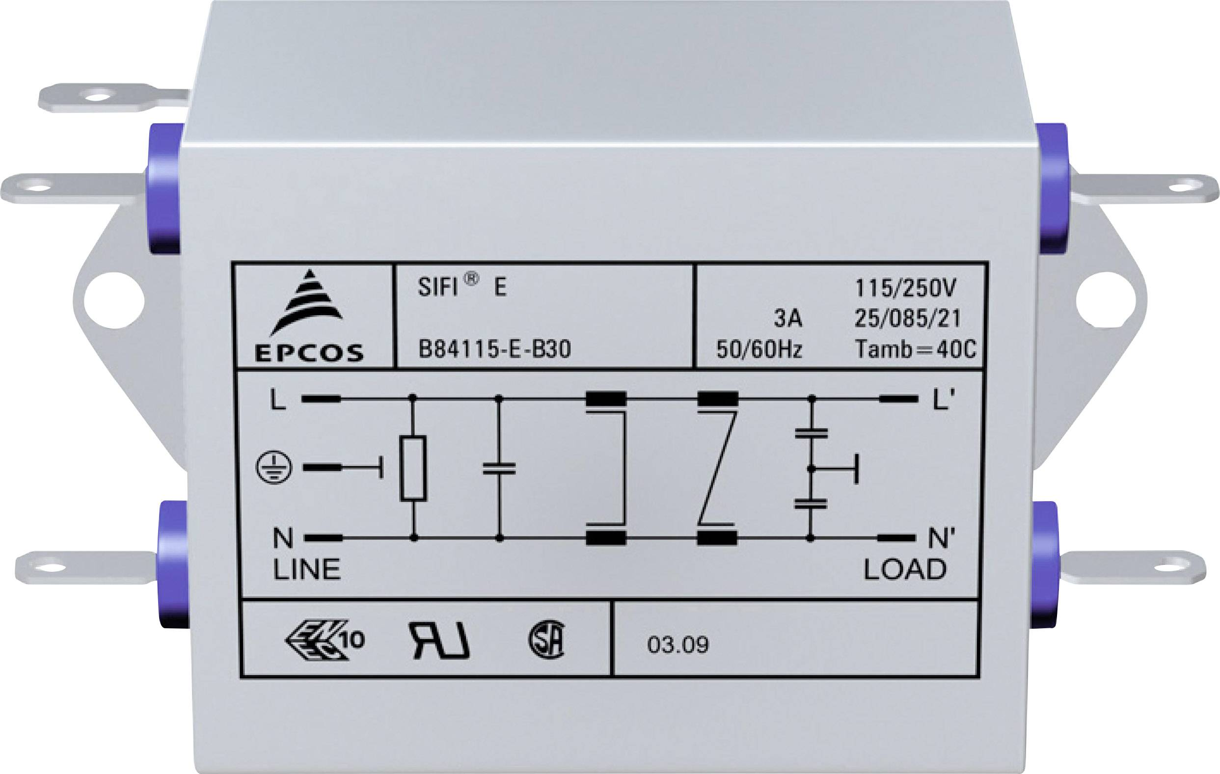 Odrušovací filter Epcos B84115EB110 B84115EB110, samohasiace, 250 V/AC, 10 A, 47 µH, (d x š x v) 159 x 50.8 x 44.5 mm, 1 ks
