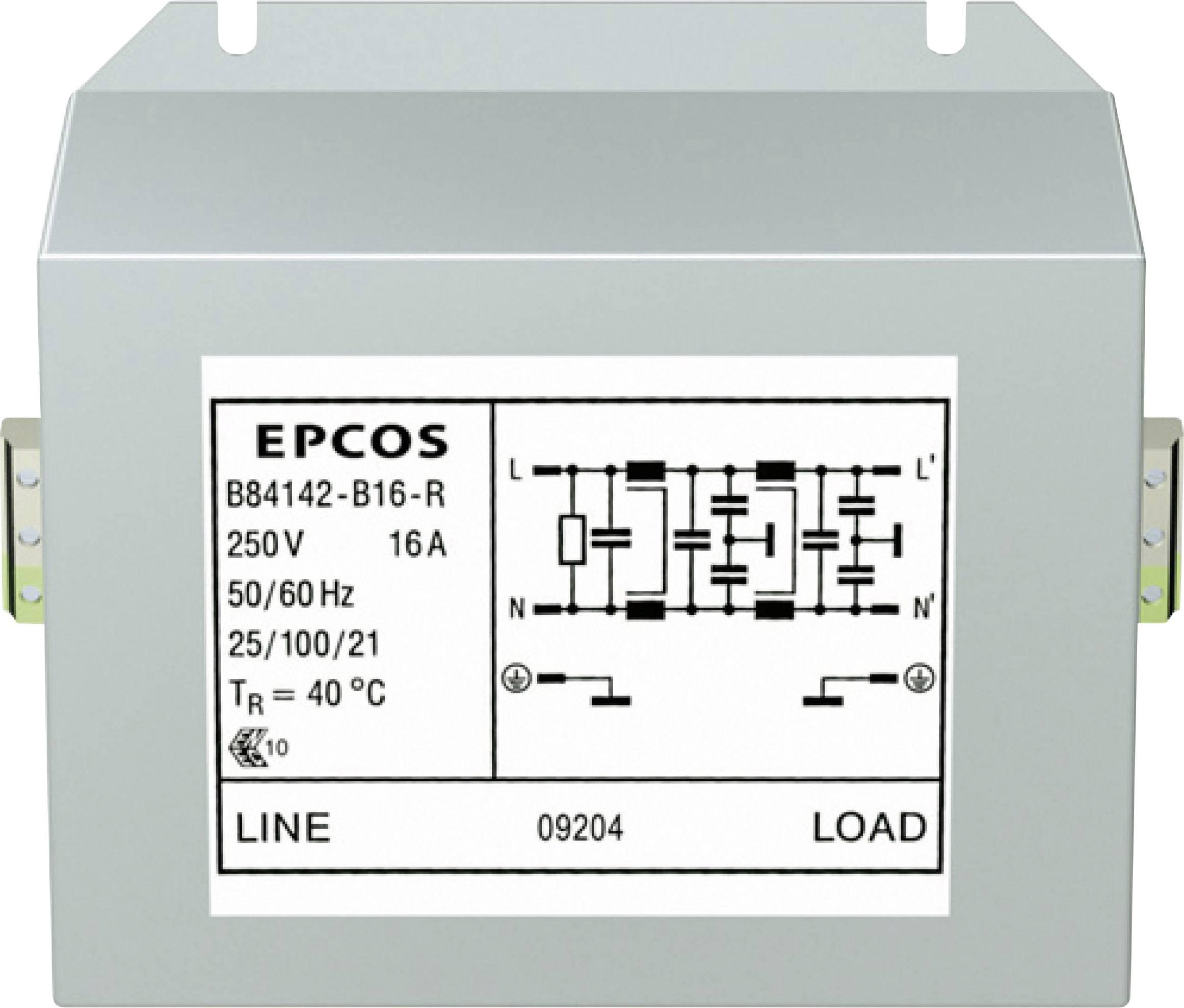 Odrušovací filter Epcos B84142B16R B84142B16R, 250 V/AC, 16 A, (d x š x v) 121 x 86 x 61 mm, 1 ks