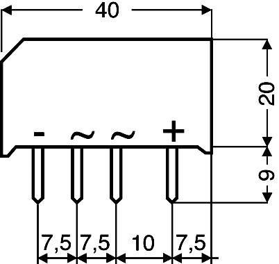 Kremíkový mostíkový usmerňovač 2,2 A/3,7 A B80C3700/2200 2,2A