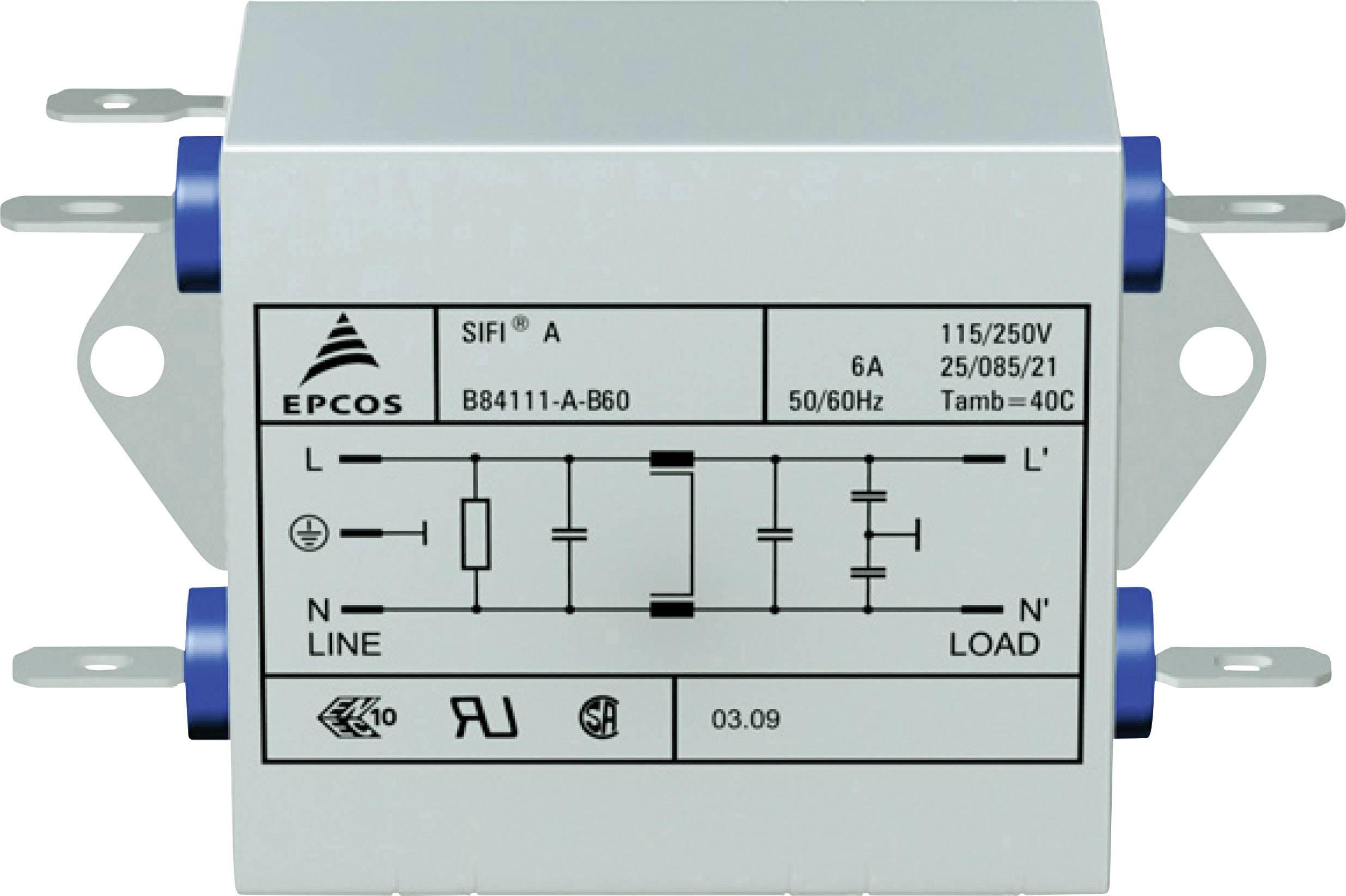 Odrušovací filter Epcos B84111AB120 B84111AB120, samohasiace, 250 V/AC, 20 A, 0.47 mH, (d x š x v) 63.5 x 77 x 38.1 mm, 1 ks