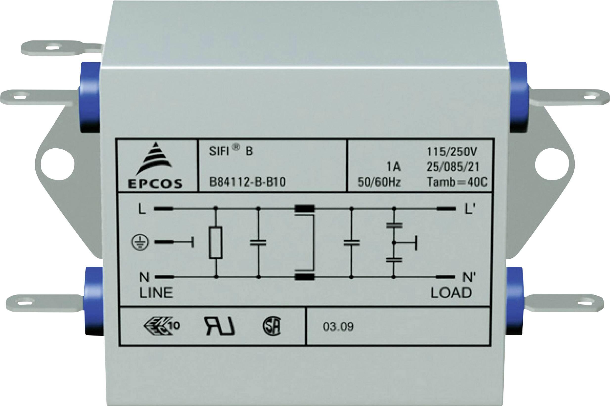 Odrušovací filter Epcos B84112BB30 B84112BB30, samohasiace, 250 V/AC, 3 A, 10 mH, (d x š x v) 76.5 x 45 x 28.6 mm, 1 ks