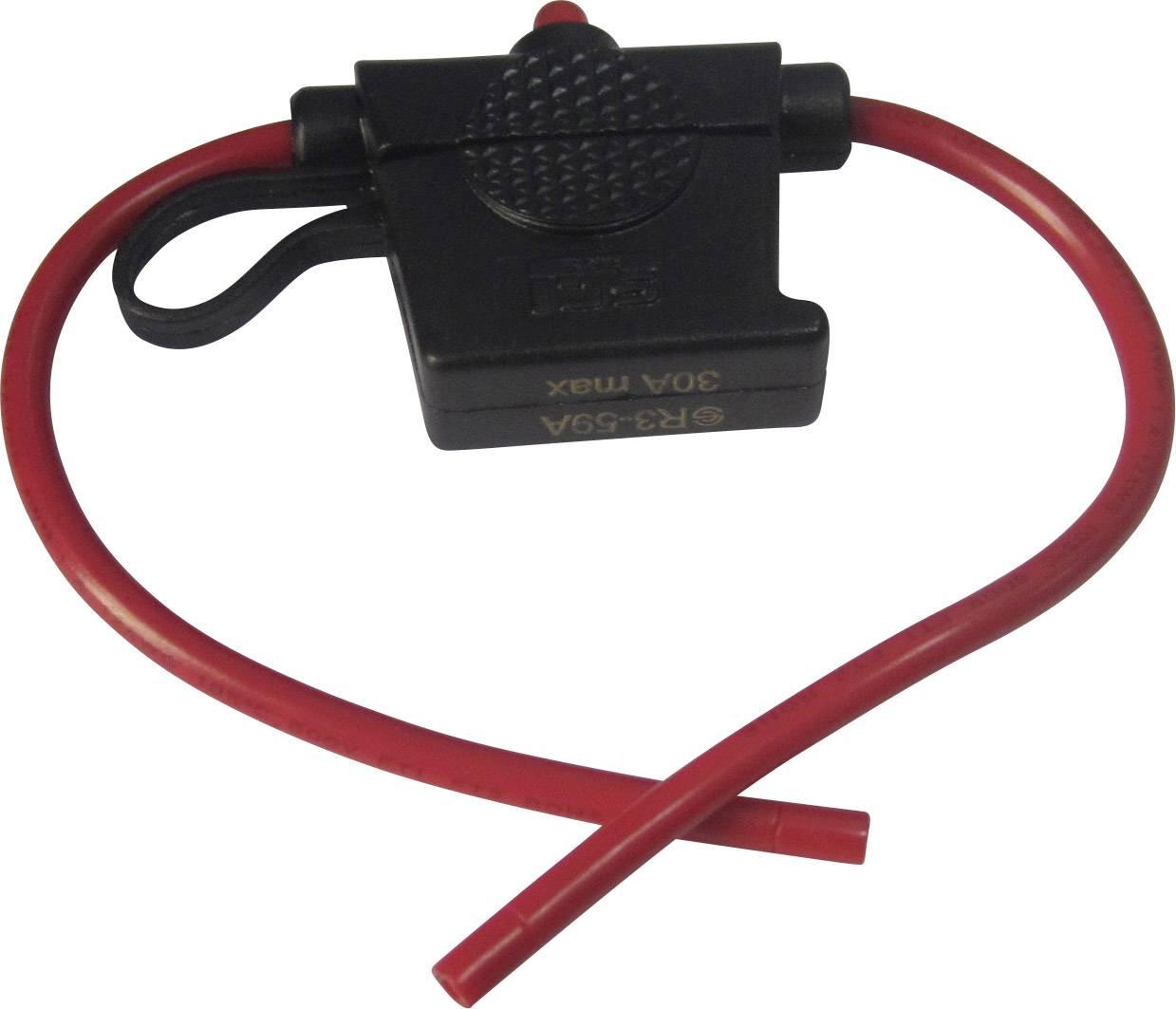 Automobilový poistkový odpínač TRU COMPONENTS TC-R3-59A 1587492, so zobrazením stavu, Vhodné pre štandardná plochá poistka, 30 A, 24 V/DC, 1 ks