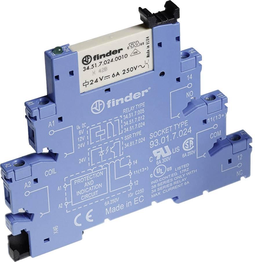 Interface relé Finder 38.51.0.012.5060, 12 V ACDC, 6 A, pozlacené kontakty