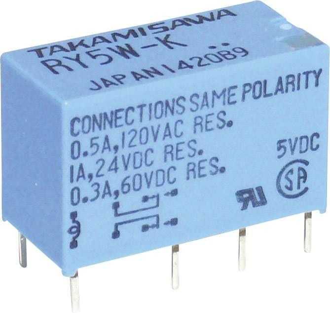 Relé do DPS Takamisawa RY-05W-K, 5 V/DC, 1 A, 2 prepínacie, 1 ks