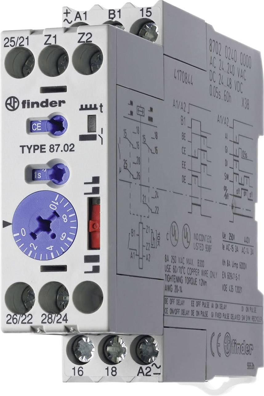 Průmyslové časové relé, široké 22,5 mm, série 87 Finder 87.02.0.240 1 ks