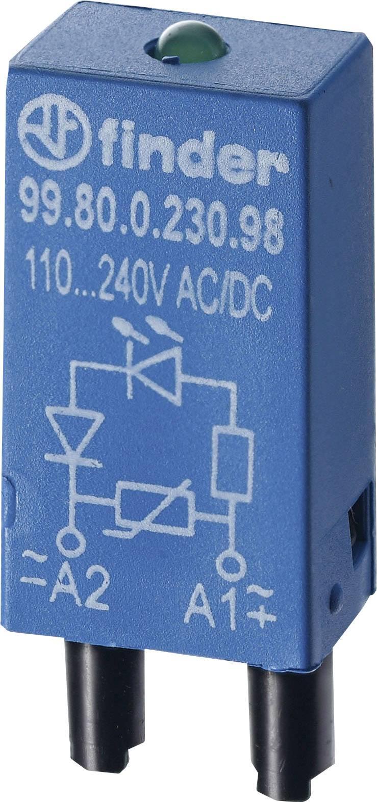 Zasouvací modul s diodou s LED diodou, s varistorem Finder 99.80.0.024.98 Barva světla: zelená