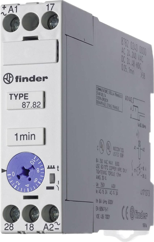 Průmyslové časové relé, široké 22,5 mm, série 87 Finder 87.82.0.240 1 ks