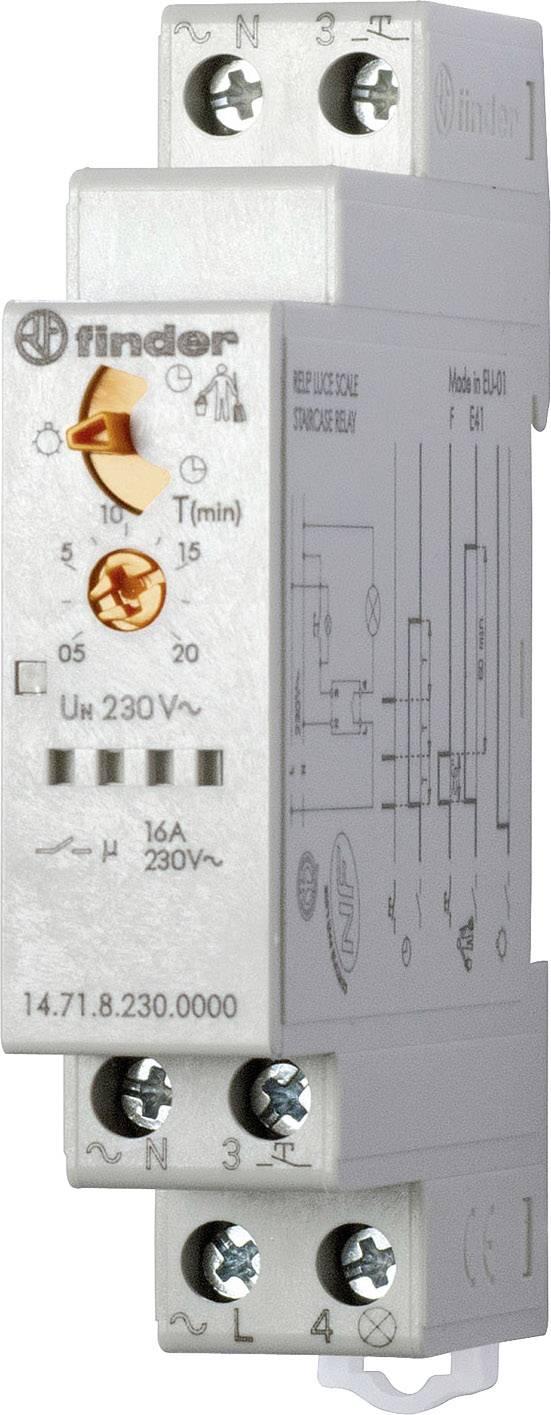 Schodišťové časové relé multifunkční Finder 14.71.8.230.0000, 230 V/AC, čas.rozsah: 30 s - 20 min, 1 spínací kontakt, 1 ks