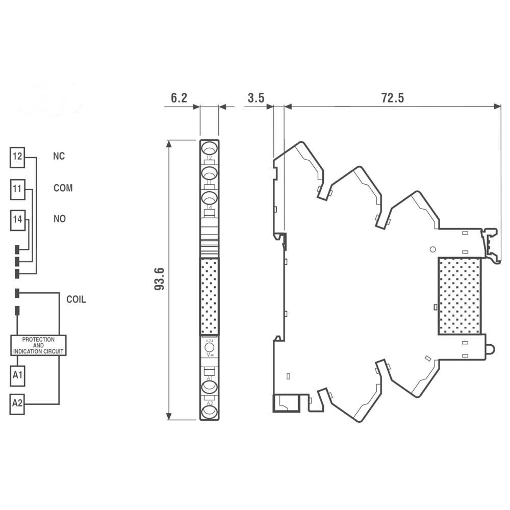 Interface pro relé na DIN Finder 38.91.7.024.9024, 24 V DC