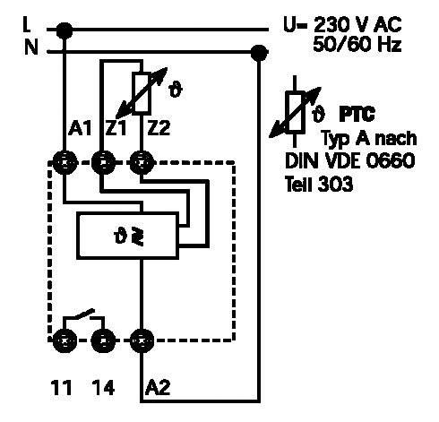 Termistorové relé, kontrola teploty pomocí PTC Finder 71.91.8.230.0300