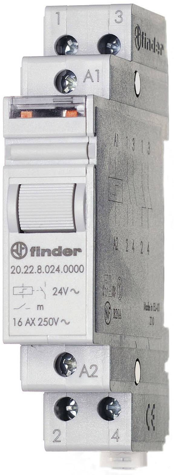 Impulsní spínač Finder 20.22.9.024.4000, 2 spínací kontakty, 24 V/DC, 16 A, 4000 VA