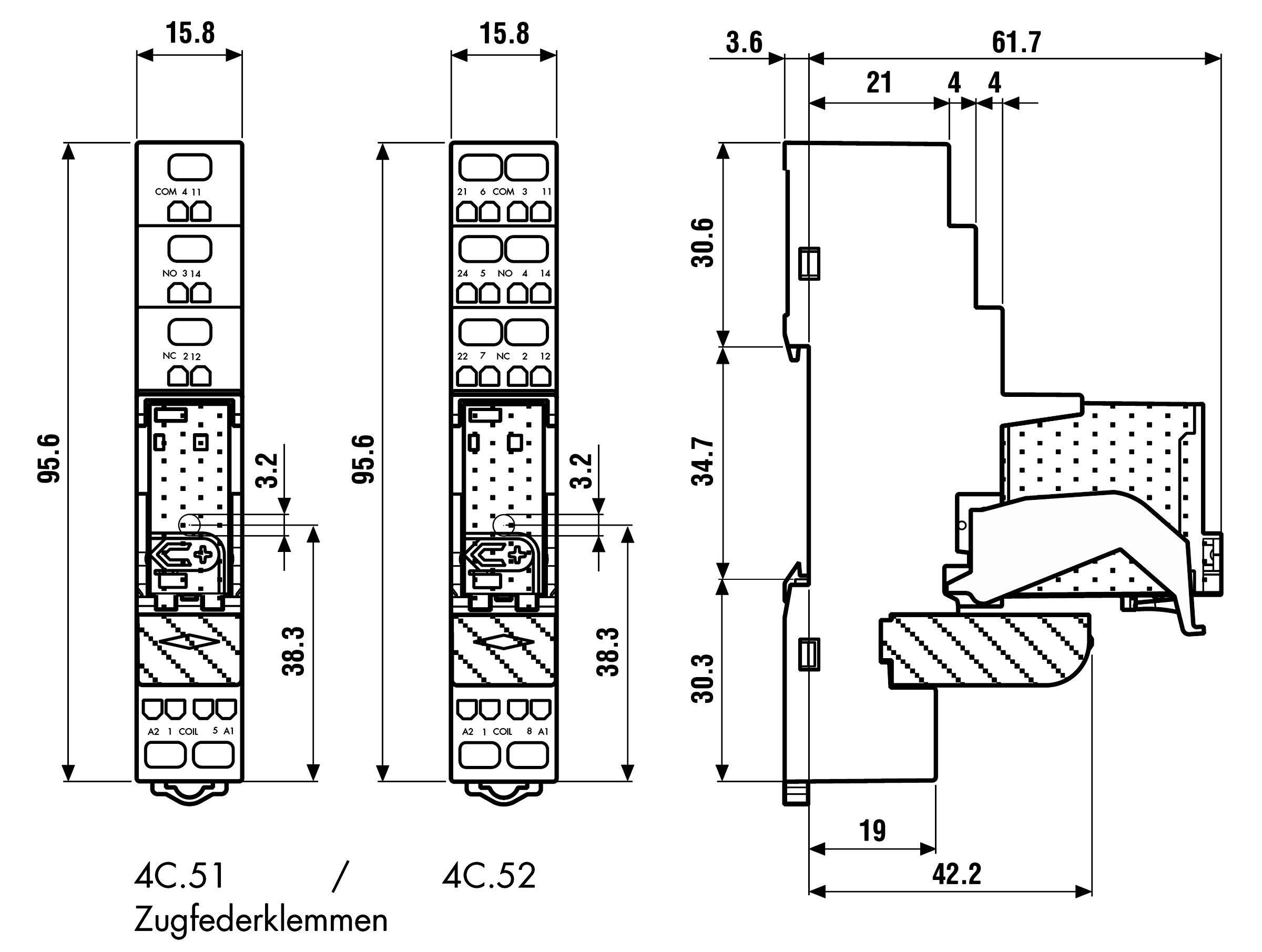 Vazební relé Finder 4C.52.9.012.0050, 12 VDC, 8 A